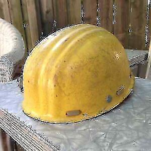 Vintage Yellow Fiberglass Hard Hat from Germany