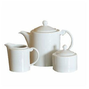 NEW $139RP ROYAL DOULTON 3 PIECE JUST WHITE TEA SET: TEAPOT, CREAMER, SUGAR BOWL