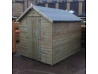 8FT x 6FT Tanalised Garden Shed (pressure treated)---IN STOCK.