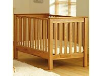 New Saplings Fiona Cotbed Oak with mattress without packaging