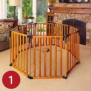 North States Superyard 3 in 1 Wood Gate + 2 panel extension