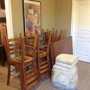Wooden Oak Table & 8 Cushioned Chairs London Ontario image 2