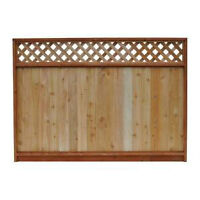 wood fence with top lattice 5 sections and 1 section apart.