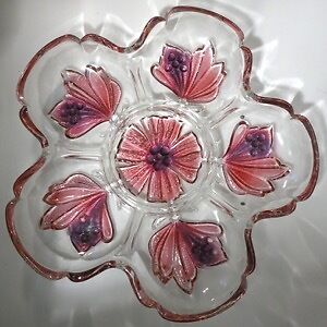 Relish Dish Pinks Floral Heavy Glass Beautiful Kitchener / Waterloo Kitchener Area image 1
