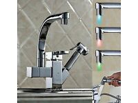 BRAND NEW BOXED Pull Out Chrome LED Stream Kitchen Bath Sink Basin Mixer Tap Faucet