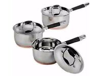 Brand new ,boxed Living Copper Base 3 Piece Pan Set rrp £79.99