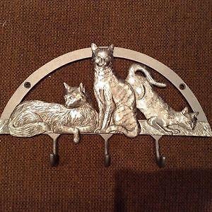 Crochets muraux en étain seagull  Sculpture 3 beaux chats