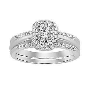 14kt White Gold Diamond Engagement Ring & Wedding Band Set 0.55ct