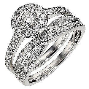 ernest jones platinum 1 carat cluster bridal set