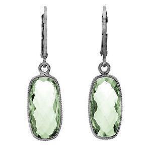 Sterling Silver Green Amethyst Earrings