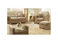 Excellent qulity cane conservatory furniture, two seater sofa, two armchairs and lamp table