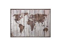 """IKEA Premiar """"Drift Wood World Map"""" - Ready-to-hang Picture/Canvas and Frame 200cm x 140cm"""