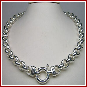 STERLING SILVER 925 50CM BELCHER CHAIN LINK NECKLACE WITH EURO BOLTRING CLASP