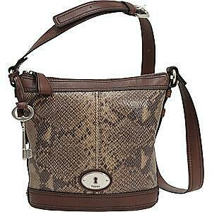 FOSSIL MADDOX BUCKET LEATHER BAG IN PYTHON & BLACK