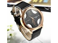Men Gold and black faux leather watch