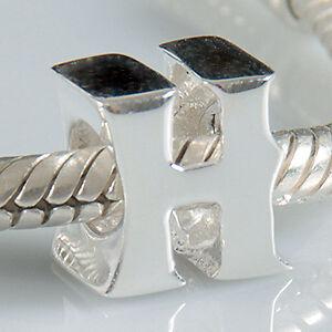 "Original Massiv 925 Sterling Silber Bead Charm Alphabet ""H"" + Geschenk"