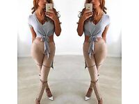 New Women Bandage Lace-up Suede High Waist Skinny Pencil Pants Stretch Leggings, UK 12