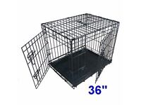 hbrand new boxed Ellie-Bo Dog Puppy Cage Folding 2 Door Crate Non-Chew Metal Tray Large 36-inc