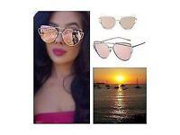Pink Rose Gold Sunglasses Mirror Oversized Aviators