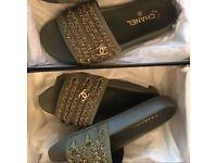 Chanel khaki slides