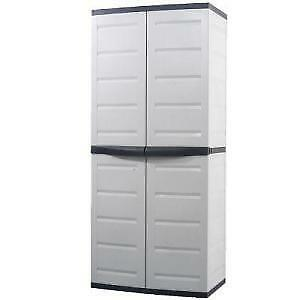 Like New Workforce 6 ft tall plastic garage storage cabinet