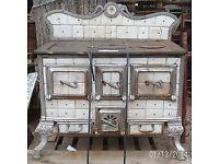 Antique European Ceramic Tiled Stove Oven