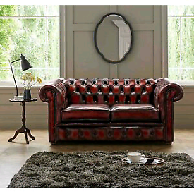 OXBLOOD CHESTERFIELD 2 SEATER SOFA COUCH