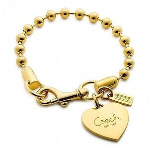 $110 COACH Bridget Ball Chain Heart Charm Bracelet Gold plated Edmonton Edmonton Area image 1