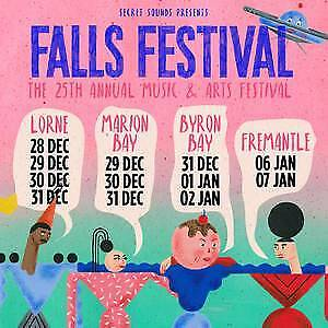 2x Falls Festival Byron Bay 3 day + camping tickets