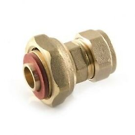 """Plumbing: Compression Straight Tap Connector 15mm x 1/2"""" BSP PF"""