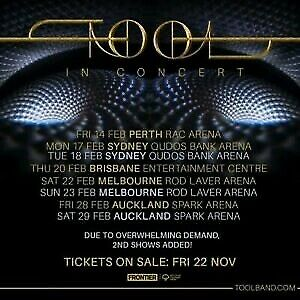 2x TOOL Tickets Sydney - GOLD SEATING - 18/02/2020