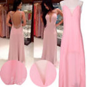 Lovely Light Pink Sexy Long Backless Evening Gown XS 7/8 - New