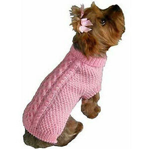 PAIR NEW TOP PAW PINK KNITTED DOG SWEATER COAT