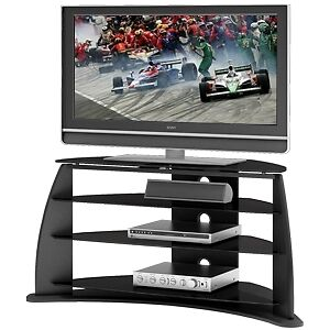 Sonax FP-4000 Florence 42 Inch black TV stand - glass shelves