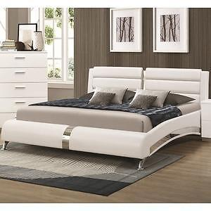 BRAND NEW -  White Bed with Metallic Accents