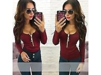 Fashion Womens Casual T Shirt Long Sleeve V Neck Loose Bandage Zipper Blouse Top, UK 10