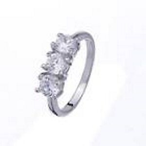 New Silver Plate 3-CZ Ring Size 7
