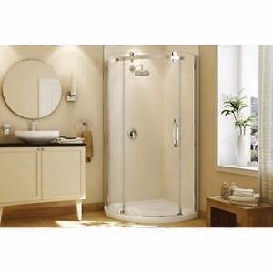 Base de douche ronde blanche Olympia avec porte en verre transparent et garniture chromée, avec drain à droite