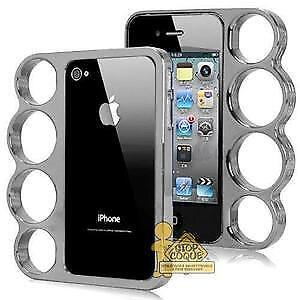 etui iphone 4 style poing americain couleur silver