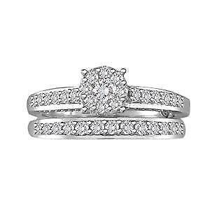 14kt White Gold Diamond Engagement Ring & Wedding Band Set 0.80ct