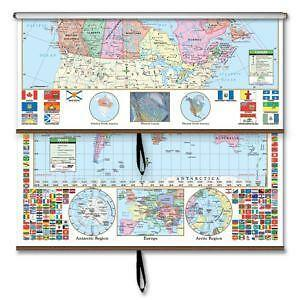 Classroom map ebay classroom world maps nystrom pull down gumiabroncs Image collections