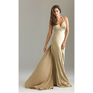 Gold halter top cleavage bridesmaid mother of the bride groom