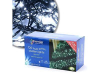 NEW BOXED 720 WHITE MULTI ACTION LED Cluster XMAS Lights.indoor/outdoor 9.3mtr long & 10mtr lead