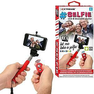 "XTREME 42"" SELFIE STICK W/BLUETOOTH REMOTE (RED)"