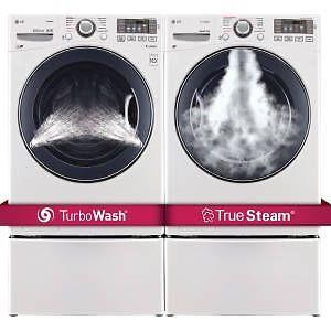 Ensemble laveuse et sécheuse frontale LG à vapeur en blanc 5 et 7.4 pi3 respectivement (SKU: 1202)