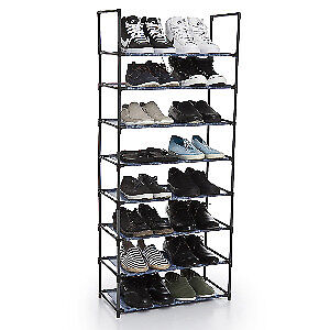 Two (2) 24-Pair Shoe Rack, Printed Fabric in Navy for Sale $50