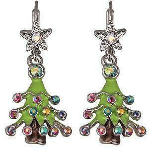 christmas tree earrings crystal swarovski
