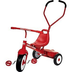 Radio flyer tricycle with removable parents push/ turn handle