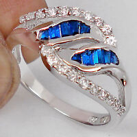BLUE SAPPHIRE TAPPER GEMS W/  TOPAZ ACCENTS 925 SILVER RING S 7