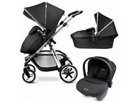 Sliver Cross Pram, Carrycot, Pushchair & Car Seat Travel System with changing bag
